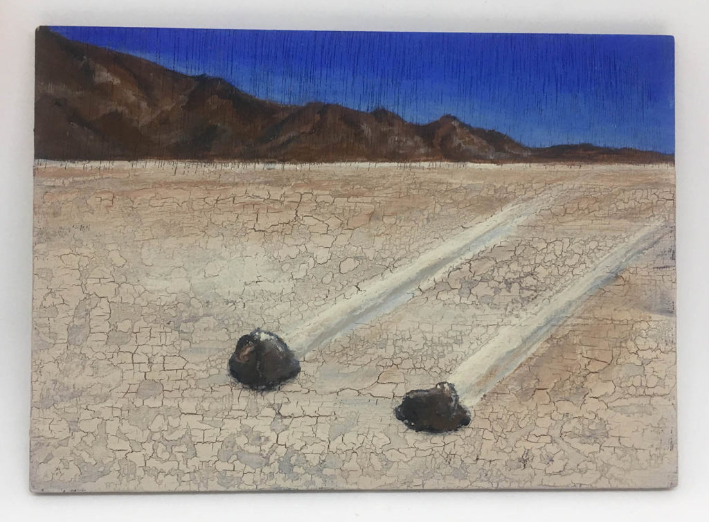 """""""Rocks Move in the Desert"""" acrylic on panel painting"""
