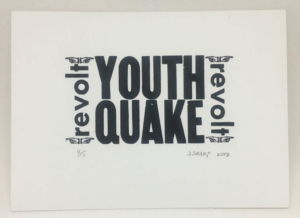 """Youthquake"" letterpress print"