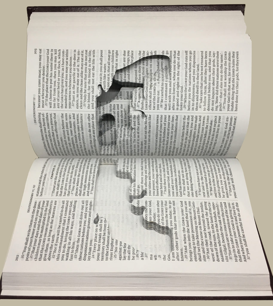 """""""Gideon's Libel"""" carved book"""