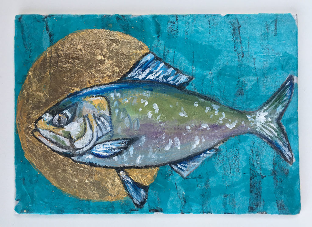 """Icon/Fish"" mixed media artwork"