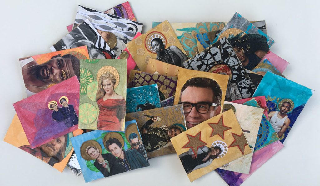 """Icon Trading Cards"" mixed media artwork"