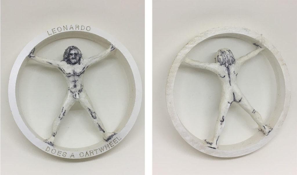 """Leonardo Does a Cartwheel"" carved PVC with marker artwork"