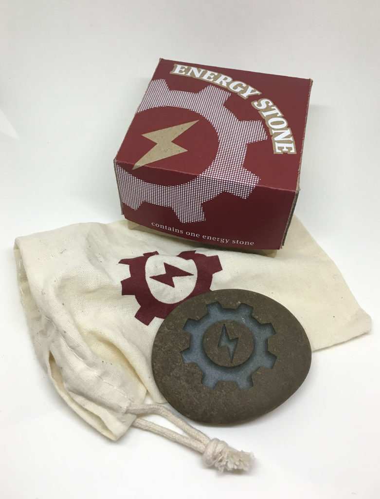 """Energy Stone stone, fabric and silkscreen on chipboard, artwork"