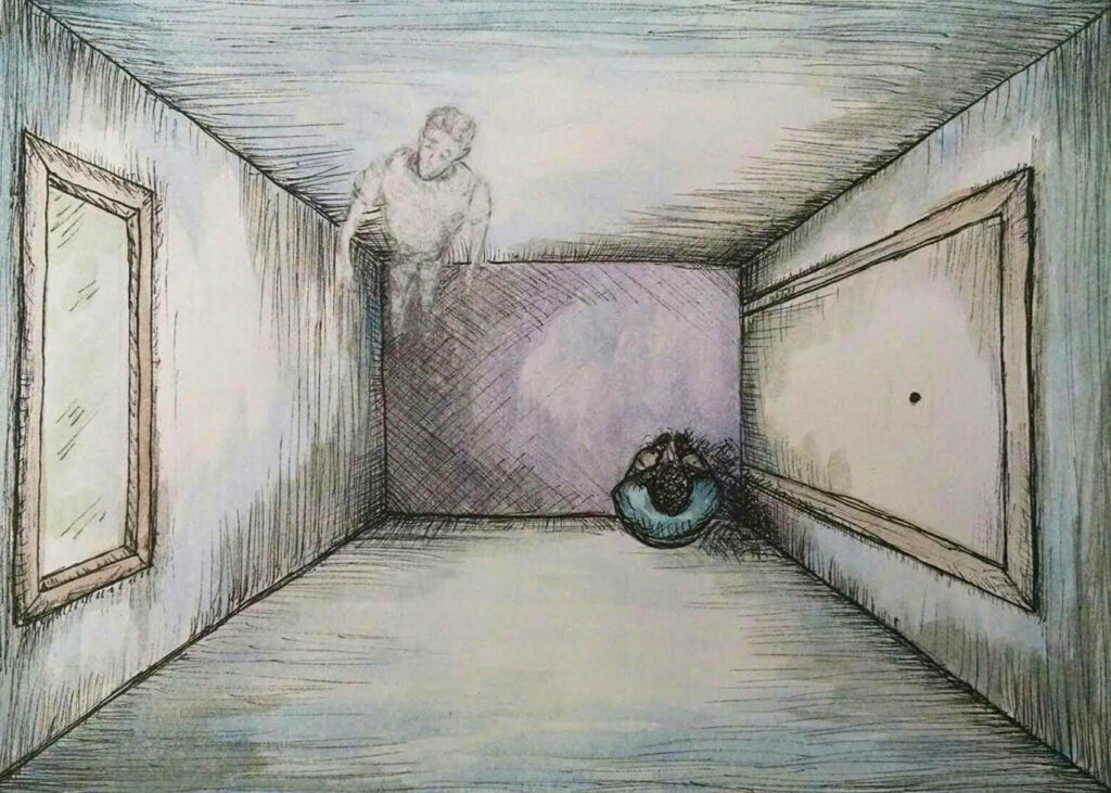 """A room "" pen and watercolor artwork"