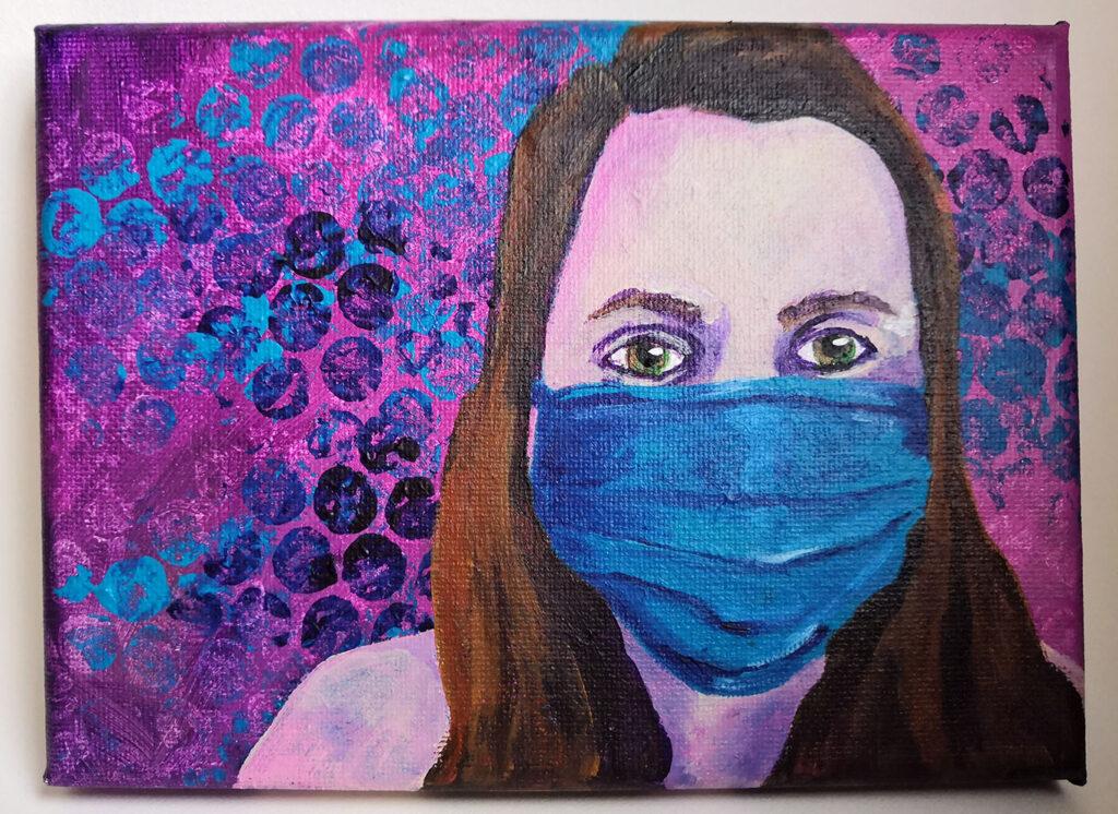 """Social Distance Selfie"" acrylic painting"