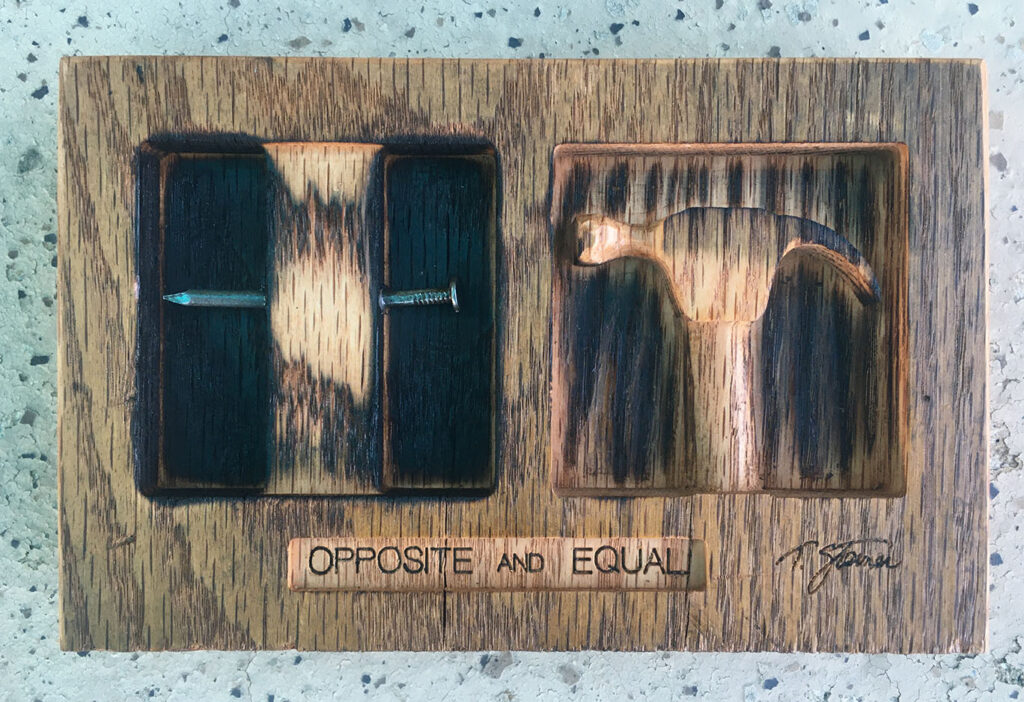 """Opposite and Equal"" mixed media artwork"