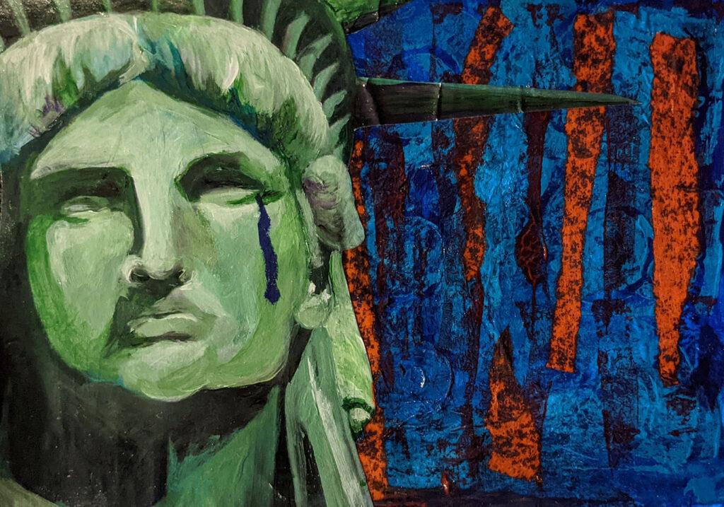 """Divided"" mixed media artwork"
