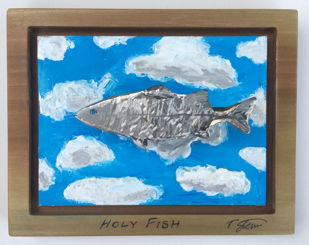 """""""Holy Fish"""" stainless steel & acrylic paint on wood"""