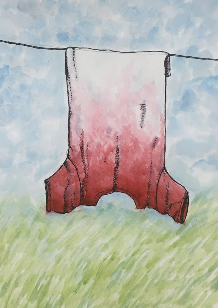 """""""Hung Out to Dry"""" ink and watercolor artwork"""