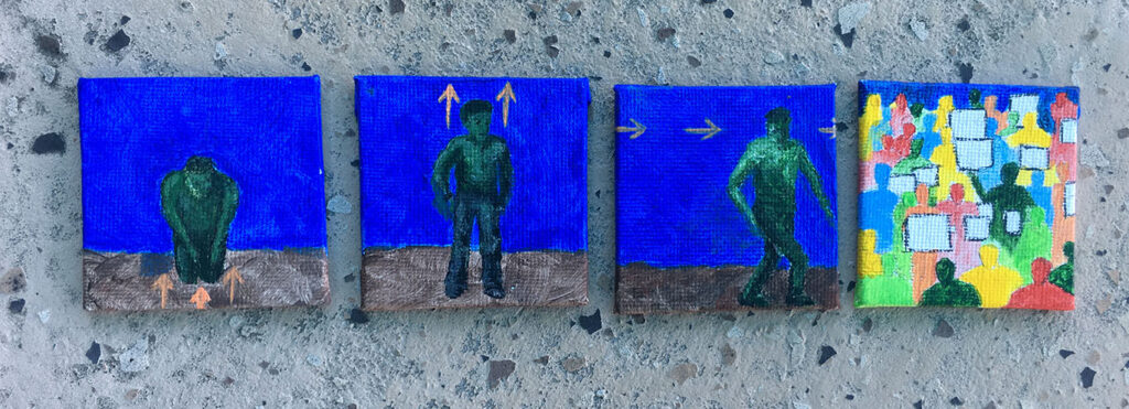 """Newton 3-1-2 "" acrylic paintings"
