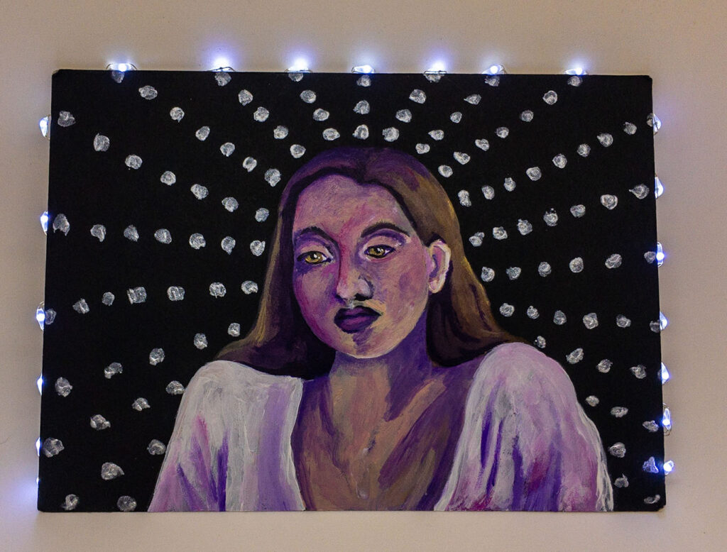 """I'm not like them."" acrylic and LED artwork"