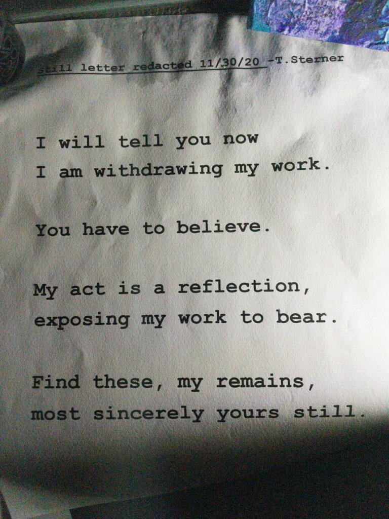 """Clyfford Still redacted letter poem"" artwork"