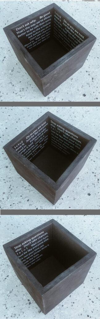 """Think Outside the Box"" mixed media artwork"