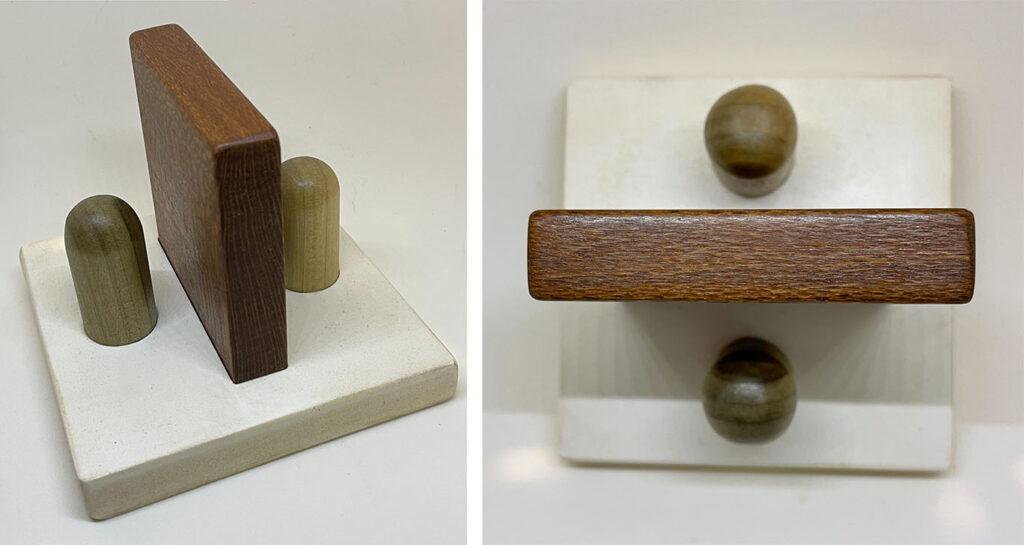 """Obelus"" wood and plastic sculture"